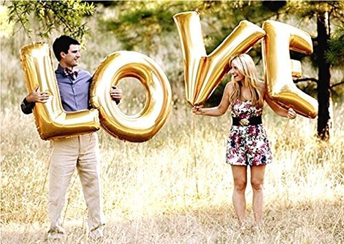 Love Letter - 40 Inch/100cm Foil Wedding Balloons Gold Letters by Wedding Touches