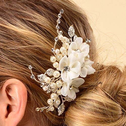 Topwedding Elfenbein Tulle Blume Haar Kamm