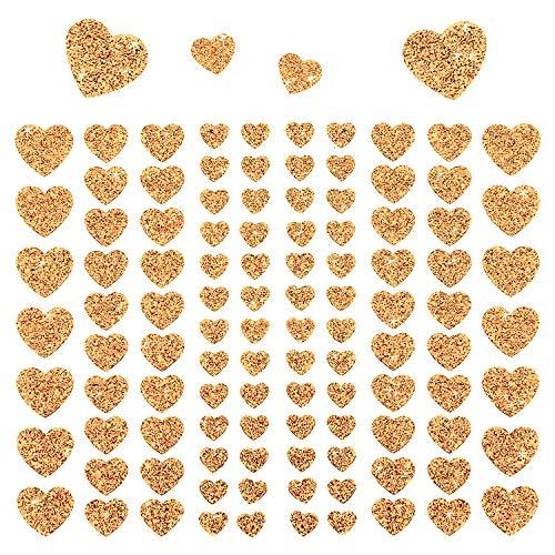 Oblique Unique® 106 Herz Aufkleber mit Glitzer Effekt in Champagner Herzen Sticker für Scrapbooking Deko Basteln