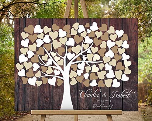 Gästebuch Hochzeitsbaum Wedding Tree, Rustikales Gästebuch, Leinwanddruck - Baum