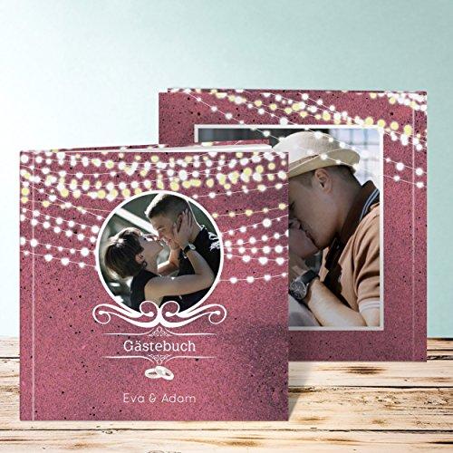 Foto Gästebuch Hochzeit, Lichterkette 48 Seiten, 24 Blatt, Hardcover 215x215 mm personalisierbar, Braun