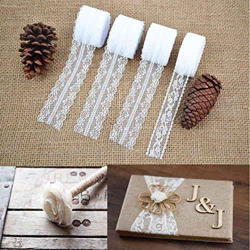 Okaytec Spitzenband Weiss Beige Vintage Set - 30M + 10M Spitze Blumen Breit Spitzenbordüre zum Nähen für Hochzeit Tischdeko Basteln Geschenkband Kraftpapier