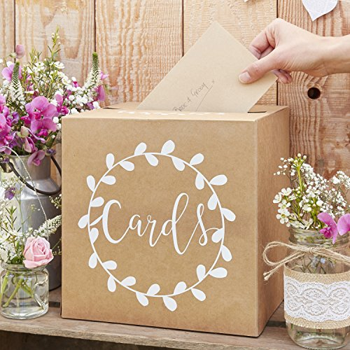 Ginger Ray Sturdy Wedding Day Card Box Rustikales Land, weiß