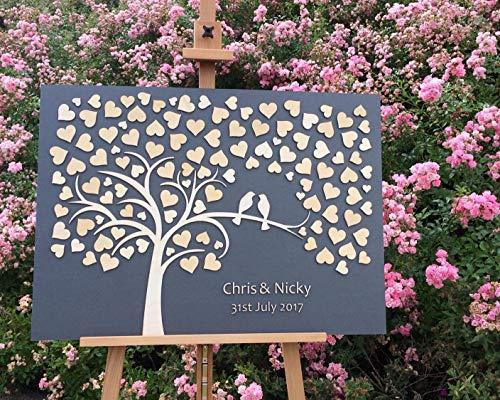 Littledollz Personalisierbares 3D Gästebuch für Hochzeiten, aus Holz, rustikales Hochzeits-Gästebuch, einzigartiges Gästebuch, Hochzeits-Ideen, Dekoration, 40,6 x 50,8 cm