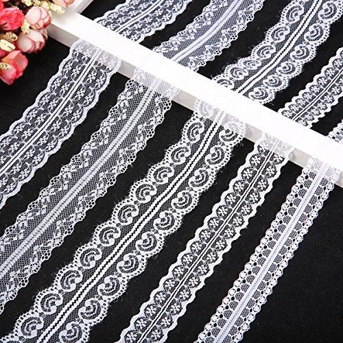 king do way 5 x 10 Meter Spitzenbordüre Vintage Spitzenborte Spitzenband Weiß Breite 2.5-5cm für Hochzeit Party Ostern Weihnachten (5 x 10 M)