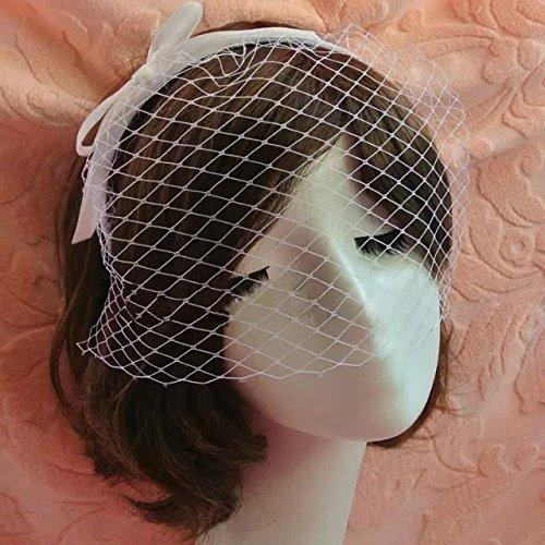 Goliton Damen Party Cocktail Kopfschmuck Fascinator Hochzeit Feder Schleier Hut Haarband - Weiß
