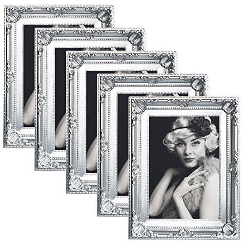 WOLTU 5er Packung Bilderrahmen 10x15cm Bild Rahmen Foto Galerie Bilder Collage Plastik Barock Weiß,9454-5