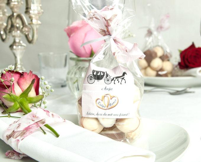 Personalisierte Tischdekoration für die Hochzeit Etikett