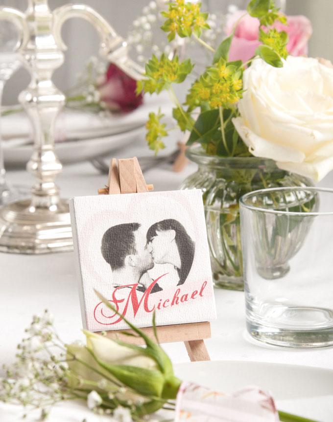 Personalisierte Tischdekoration für die Hochzeit Minileinwand