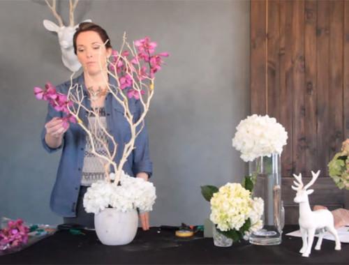 Tischdekoration mit Orchideen für die Hochzeit selber machen