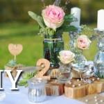 Romantisch rustikale Hochzeits-Tischdeko selber machen