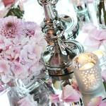 Tischdeko mit Hortensien zur Hochzeit