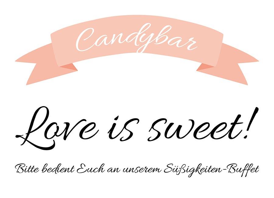 Candybar Schild für die Hochzeit zum Download