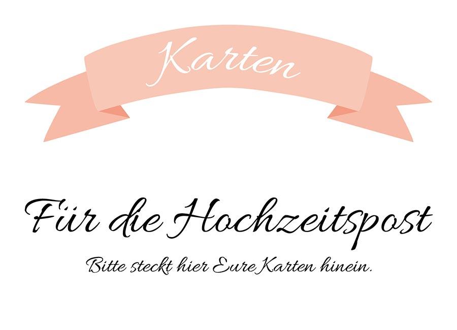 Karten Schild für die Hochzeit zum Download