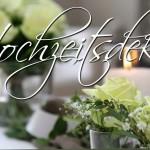 Kostengünstige Tischdeko in Grün / Weiß
