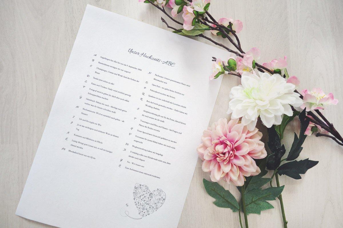 Hochzeits-ABC für die Hochzeitsgäste – Vorlagen & Infos