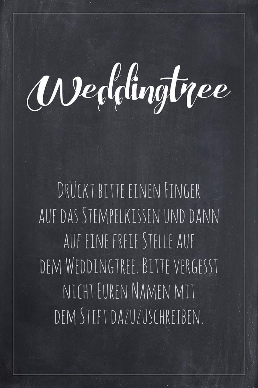 Weddingtree Schild für die Hochzeit im Tafel-Look. Finde hier viele weitere Vorlagen für Schilder in über 20 verschiedene Farben!