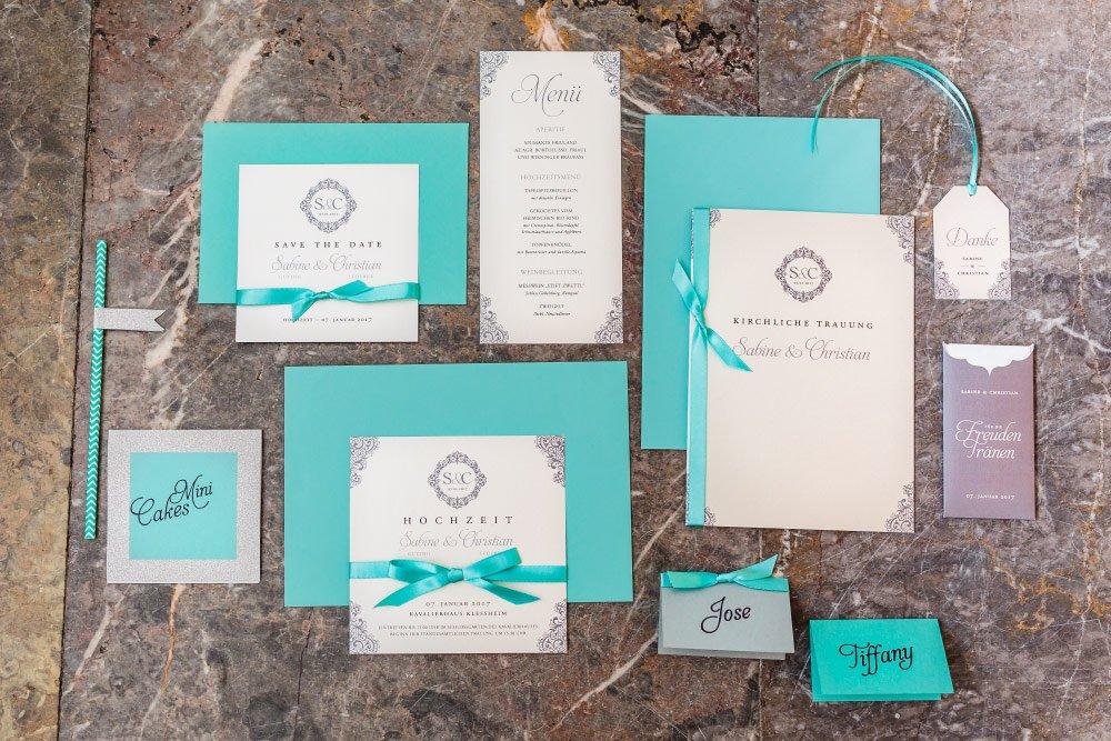 Papeterie zum Styled Shooting zum Hochzeitskonzept in Tiffany Grün und Creme