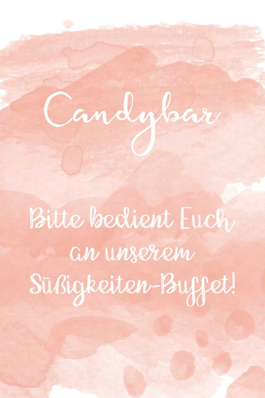 Candybar Schild in Wasserfarben-Optik kostenlos zum Download