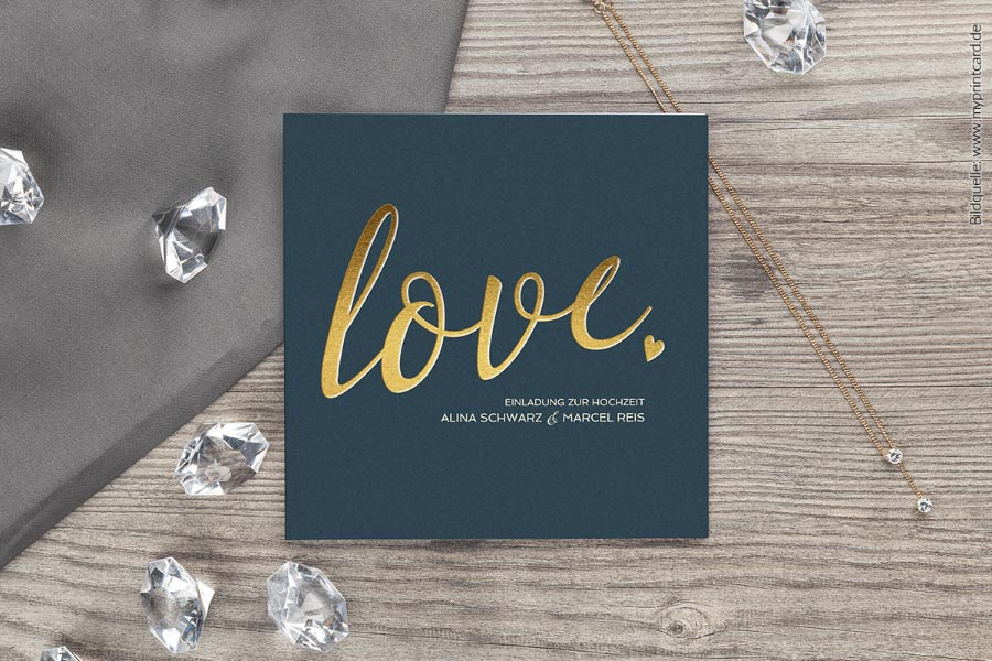 Glam Hochzeitseinaldung Quadratisch von myprintcard