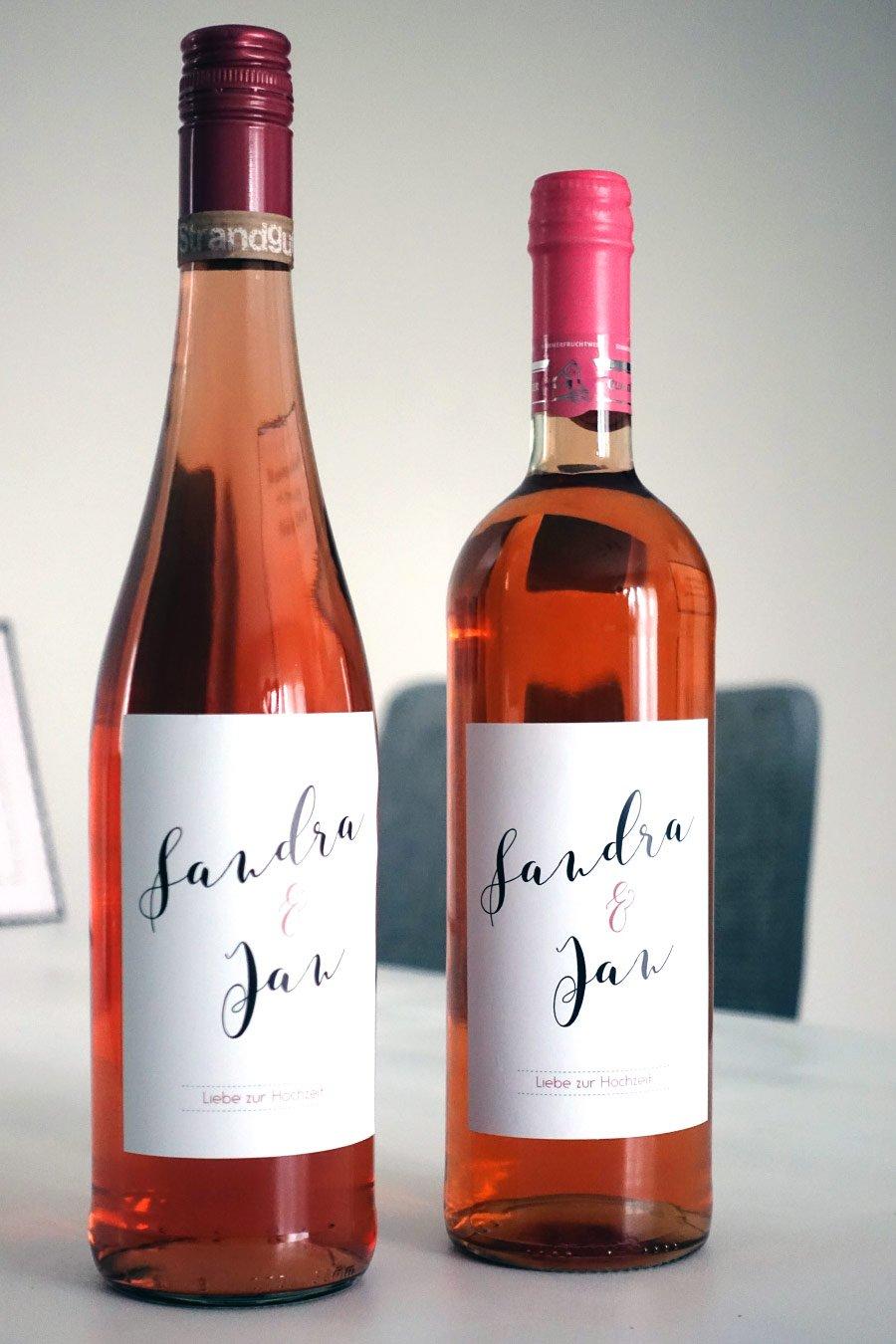 Personalisierte Flaschenetiketten zur Hochzeit von sendmoments