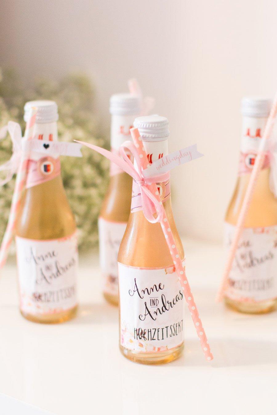 individuelle Flaschenetiketten für die Hochzeit