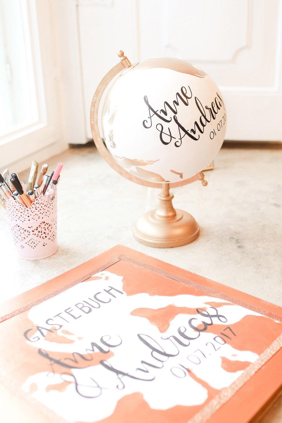 Globus als Gästebuch bei der Hochzeit