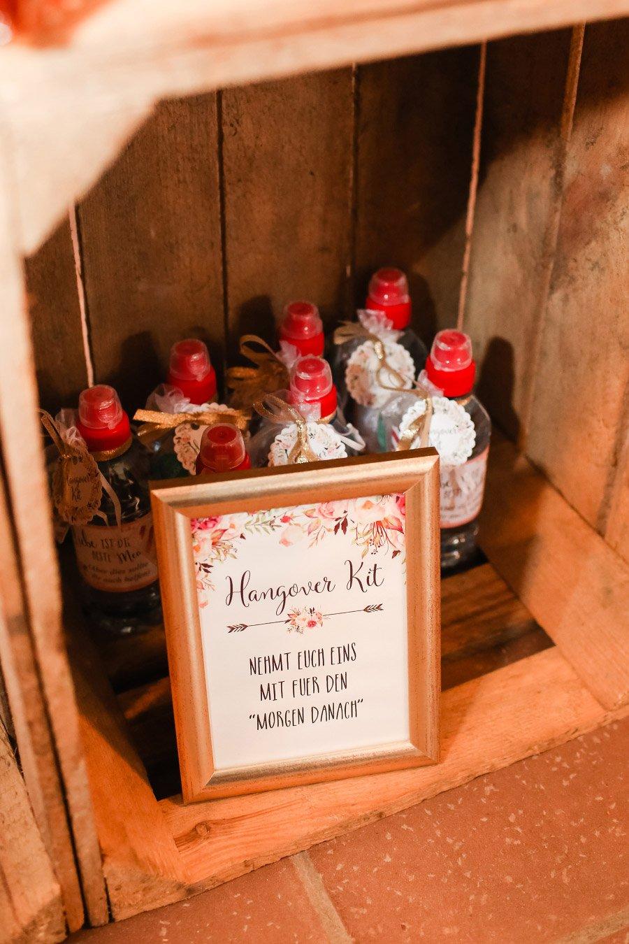 Hangover-Kit bei der Hochzeit