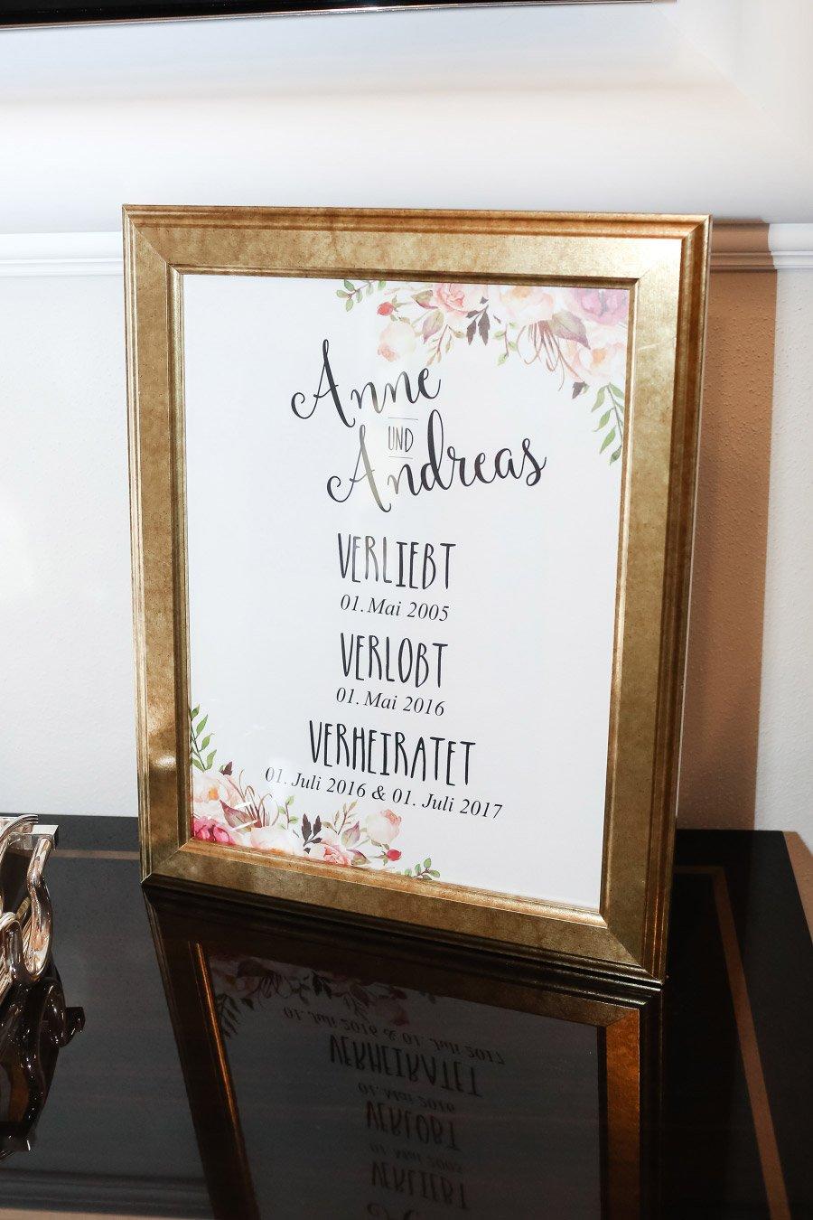 Poster im Bilderrahmen mit der Liebesgeschichte von Braut und Bräutigam