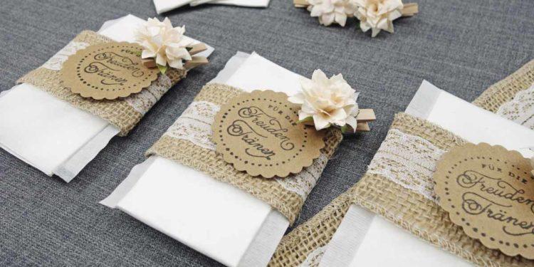 Stempel für Freudentränen Taschentücher zur Hochzeit