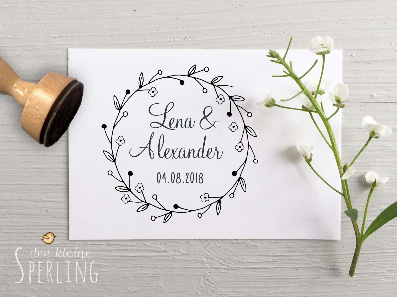 Stempel zur Hochzeit: Personalisiert mit Namen und Datum