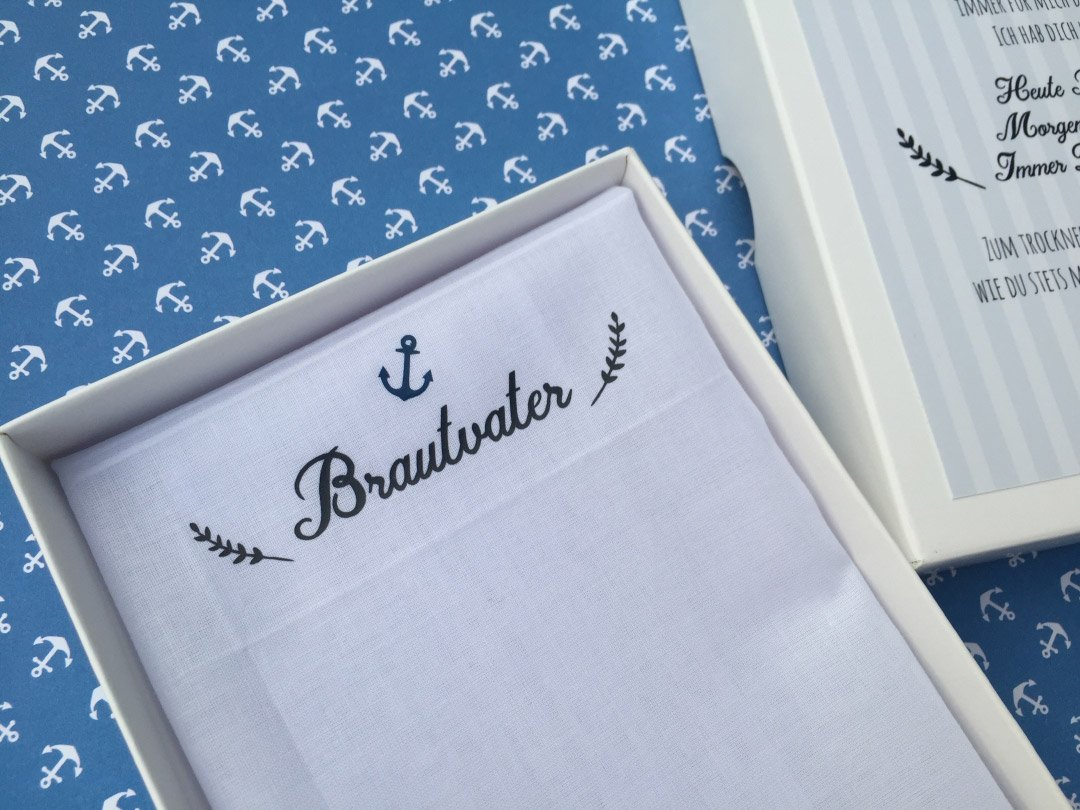 Stoff-Taschentuch als Geschenk für den Papa – Liebe zur Hochzeit