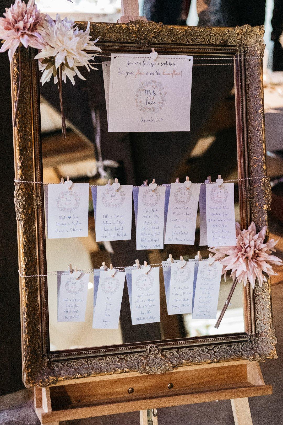 Sitzplan zur Hochzeit: Ideen & Beispiele