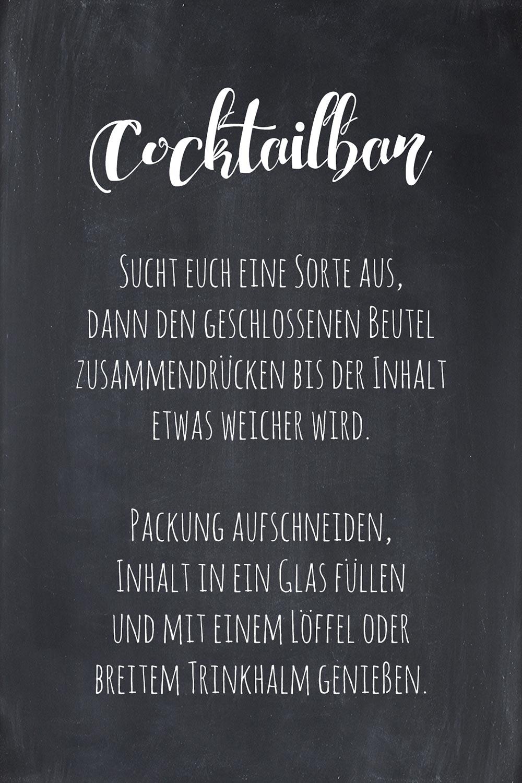 Cocktailbar bei der Hochzeit: Freebie Schild im Tafellook zum Download
