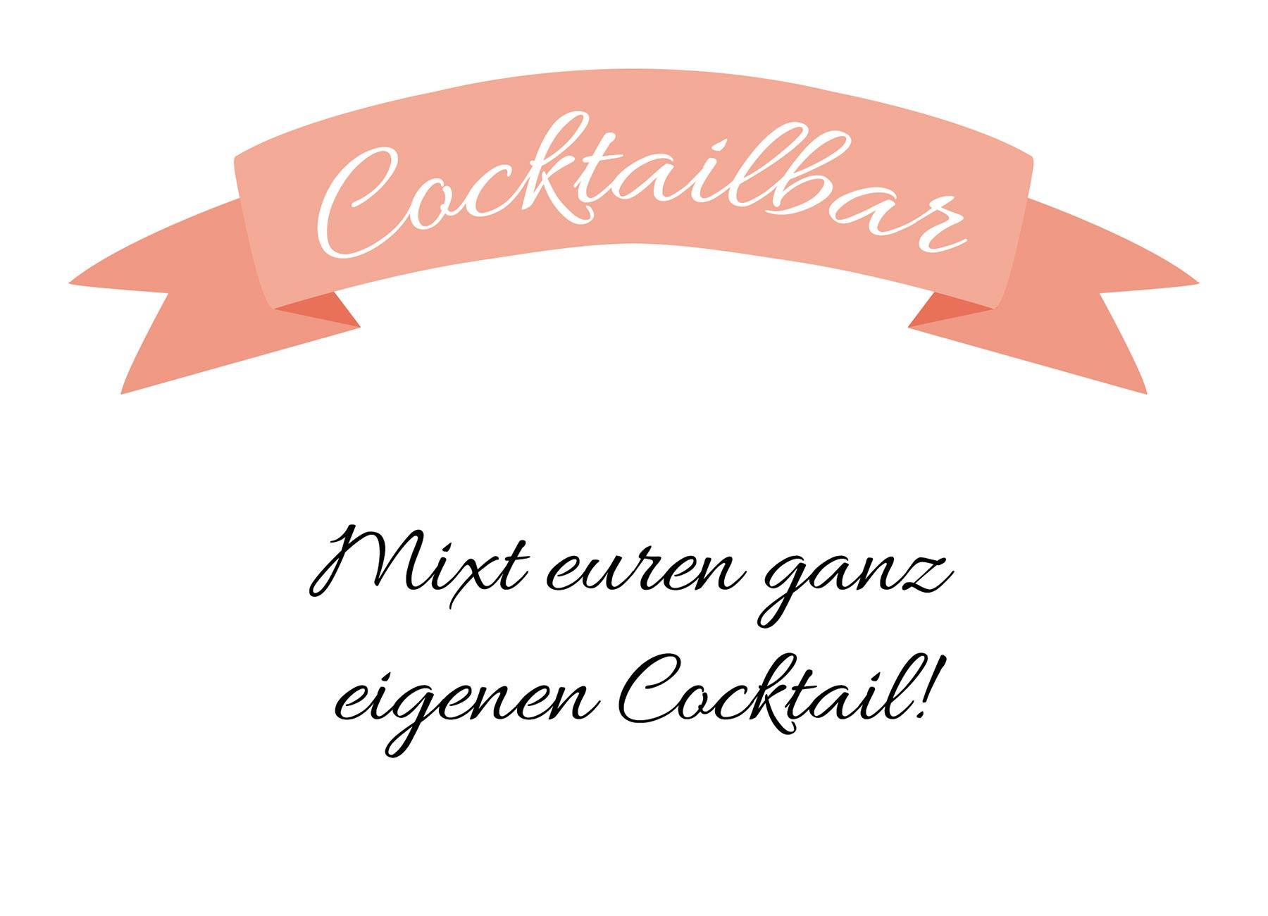 Cocktailbar bei der Hochzeit: Freebie Schild zum Download