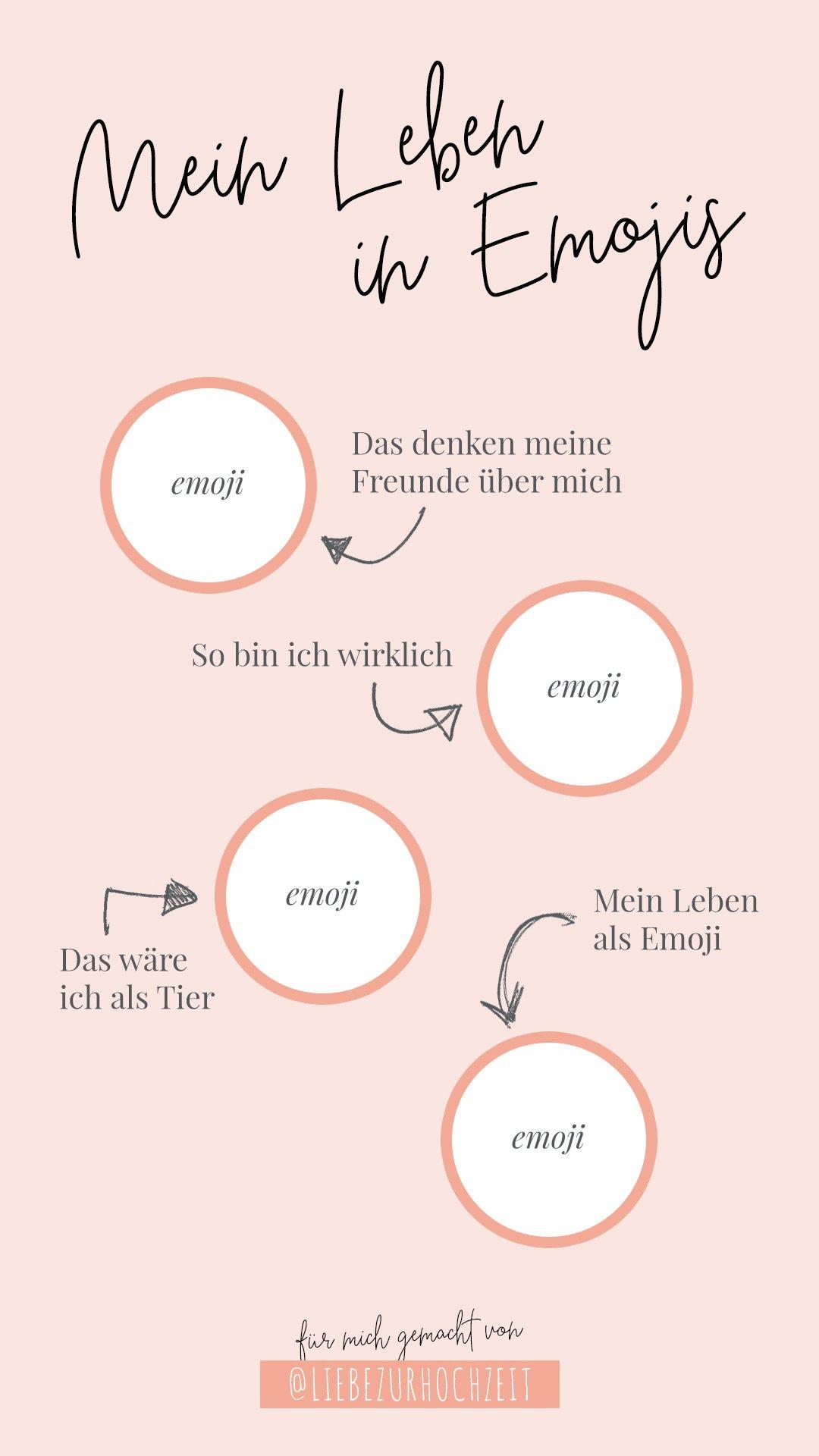Kostenlose Instastory Templates zum Thema Hochzeit und Braut: Mein Leben in Emojis