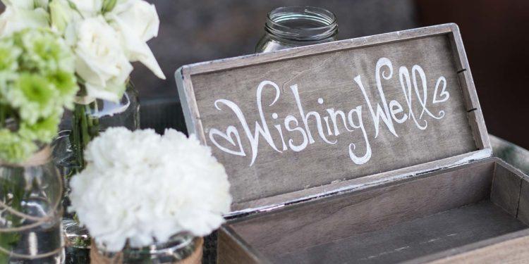 Kartenbox für die Briefe und Umschläge am Tag der Hochzeit