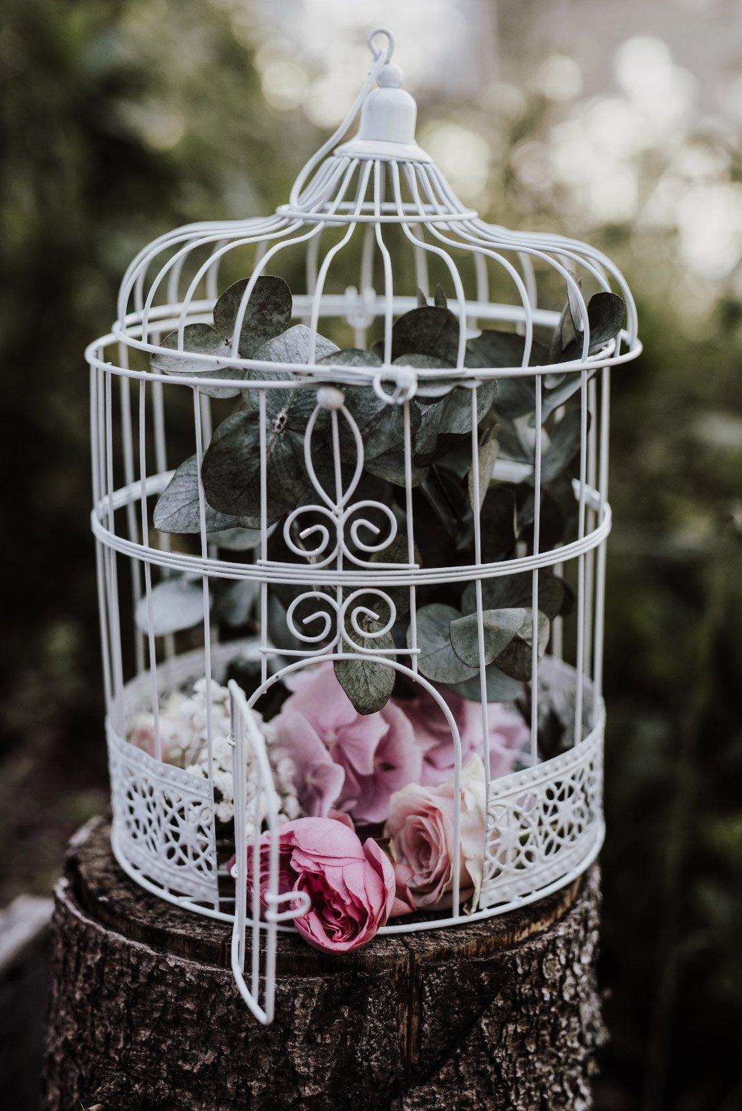 Vogelkäfig als Dekoration bei der Hochzeit
