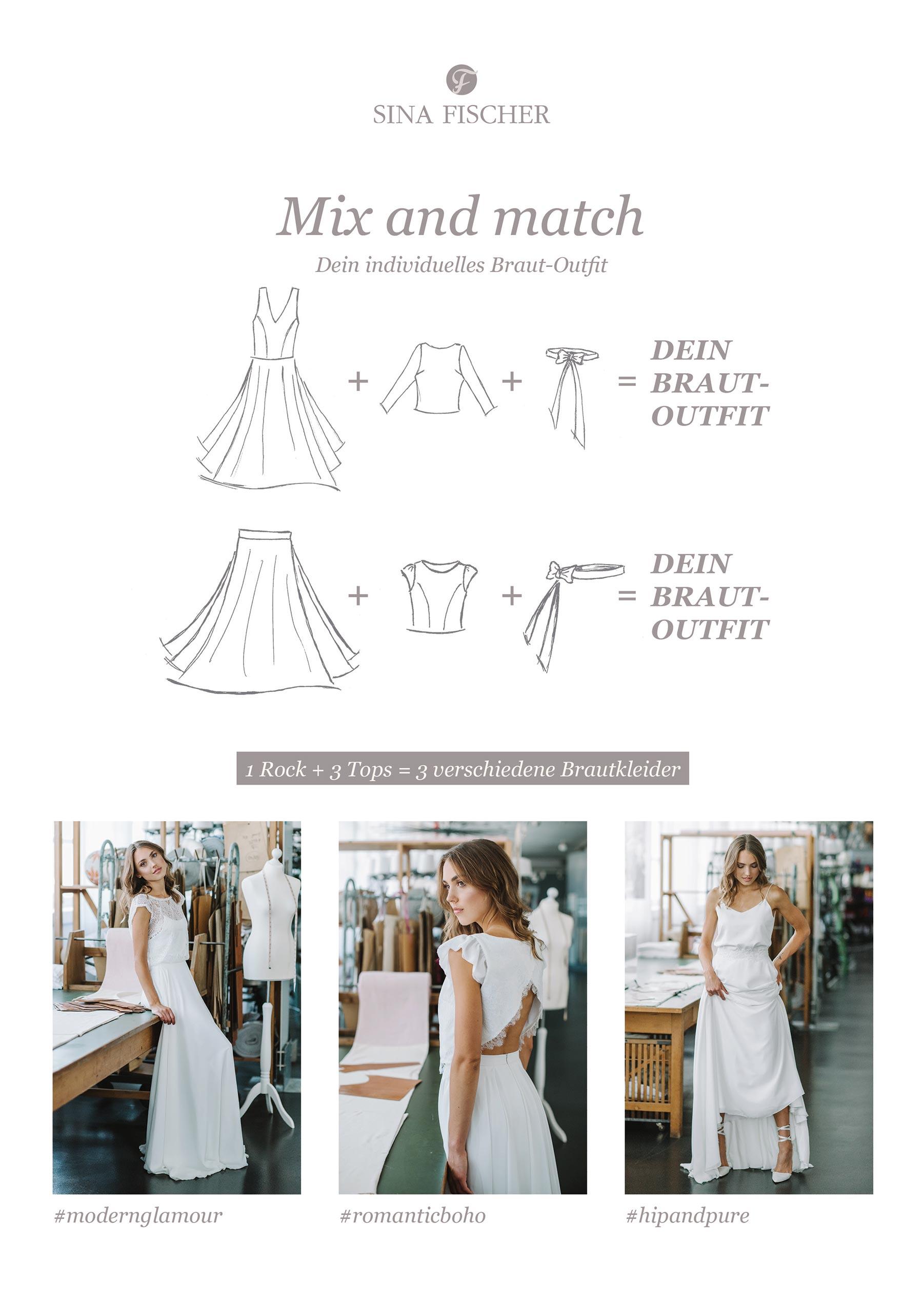 Mix and Match - dein eigenes individuelles Braut-Outfit aus der Sina Fischer Kollektion 2019