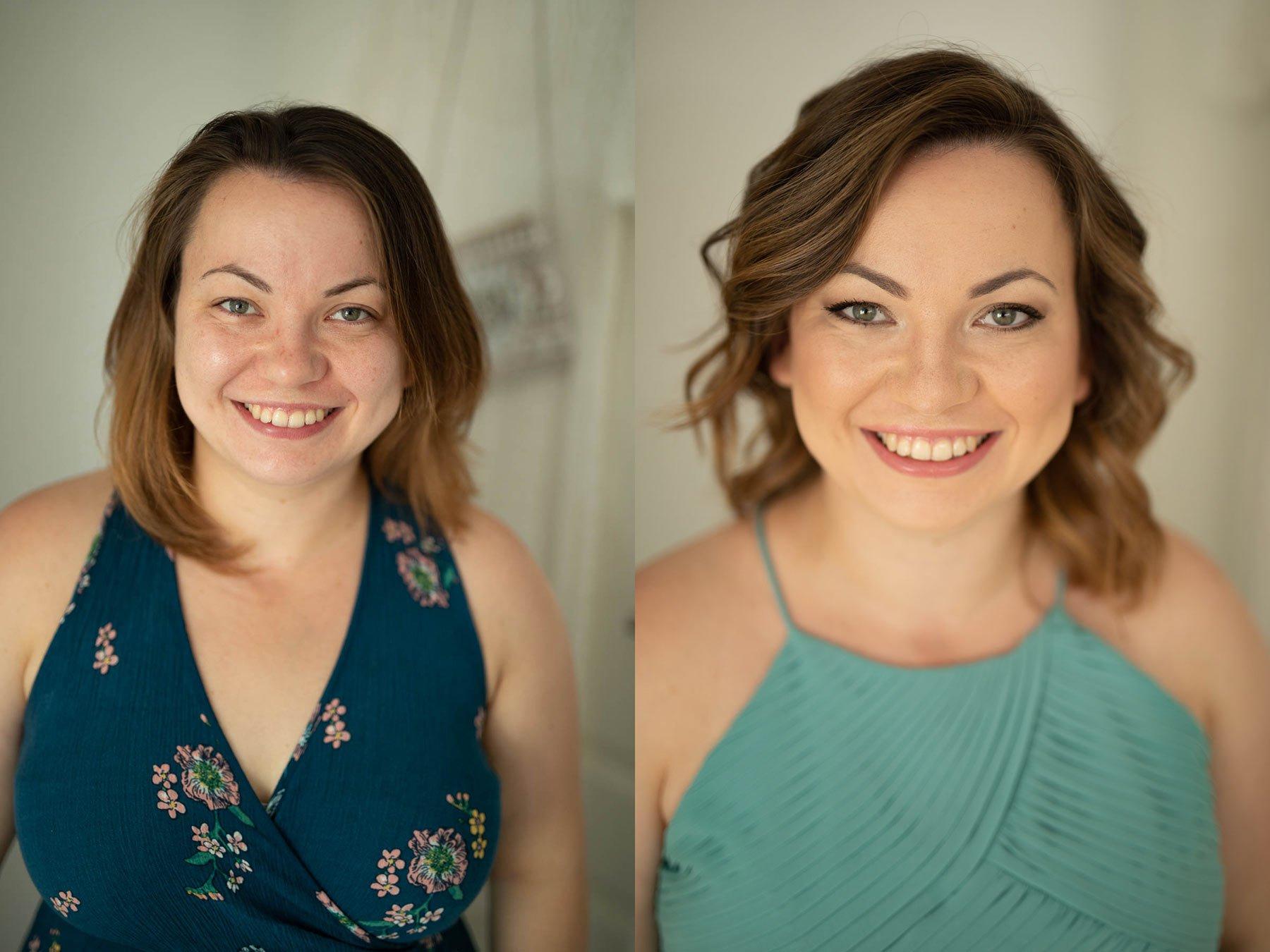 Vorher/Nachher Vergleich beim Probemakeup für die Hochzeit