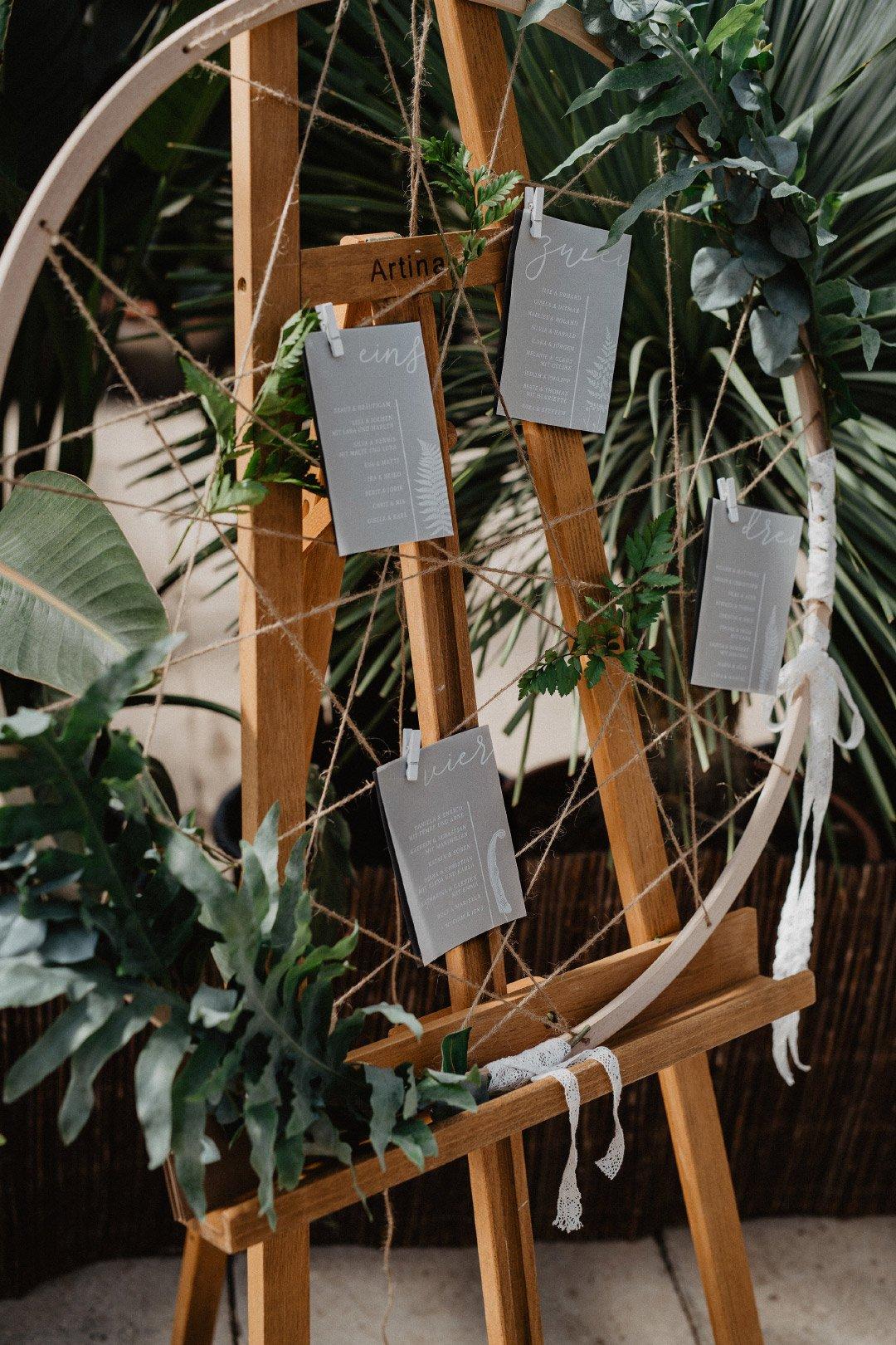 Sitzplan bei der Hochzeit im Gewächshaus