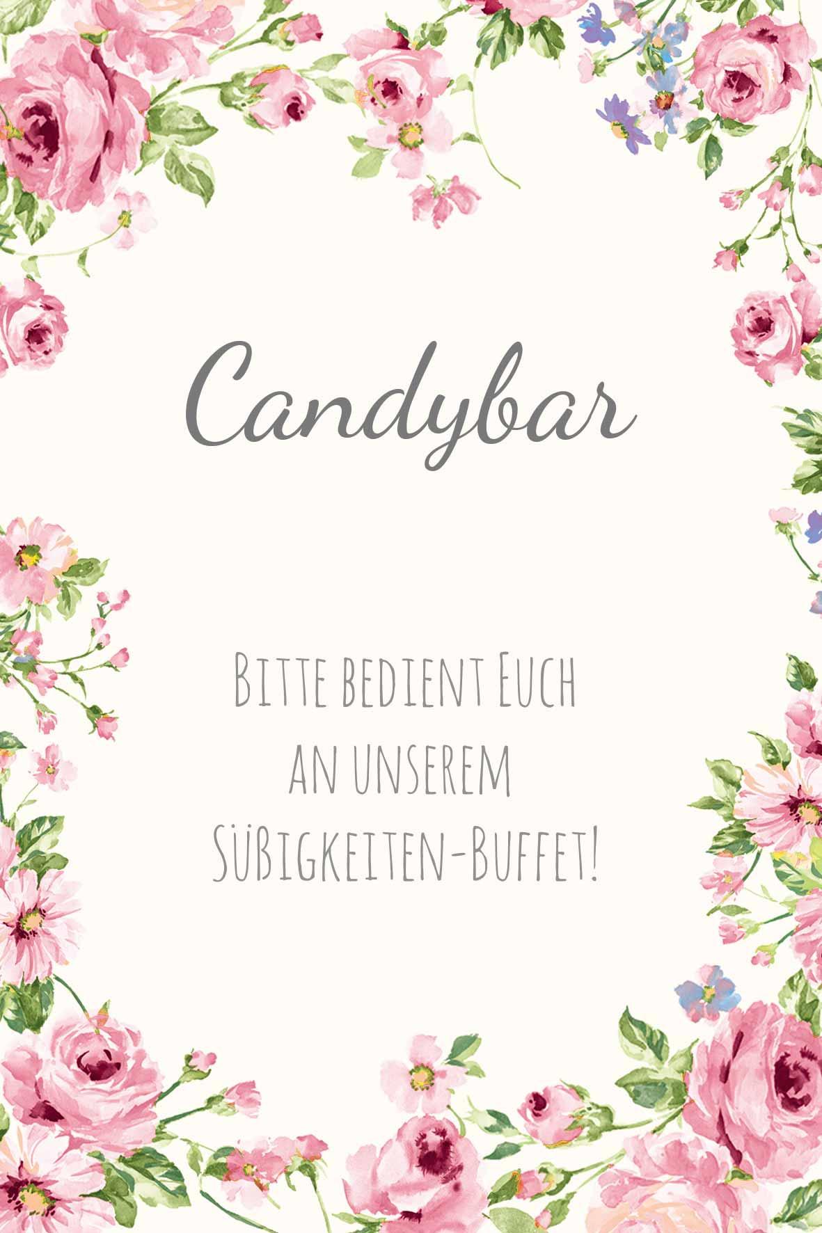 Schild im blumigen Design als Vorlage für die Hochzeit: Candybar