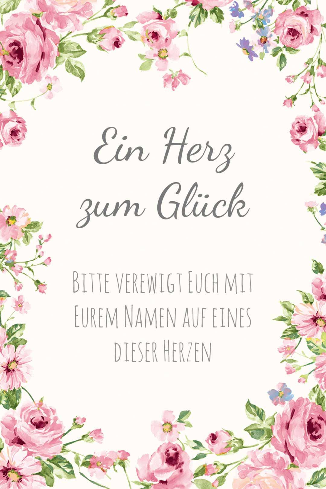 Schild im blumigen Design als Vorlage für die Hochzeit: Ein Herz zum Glück