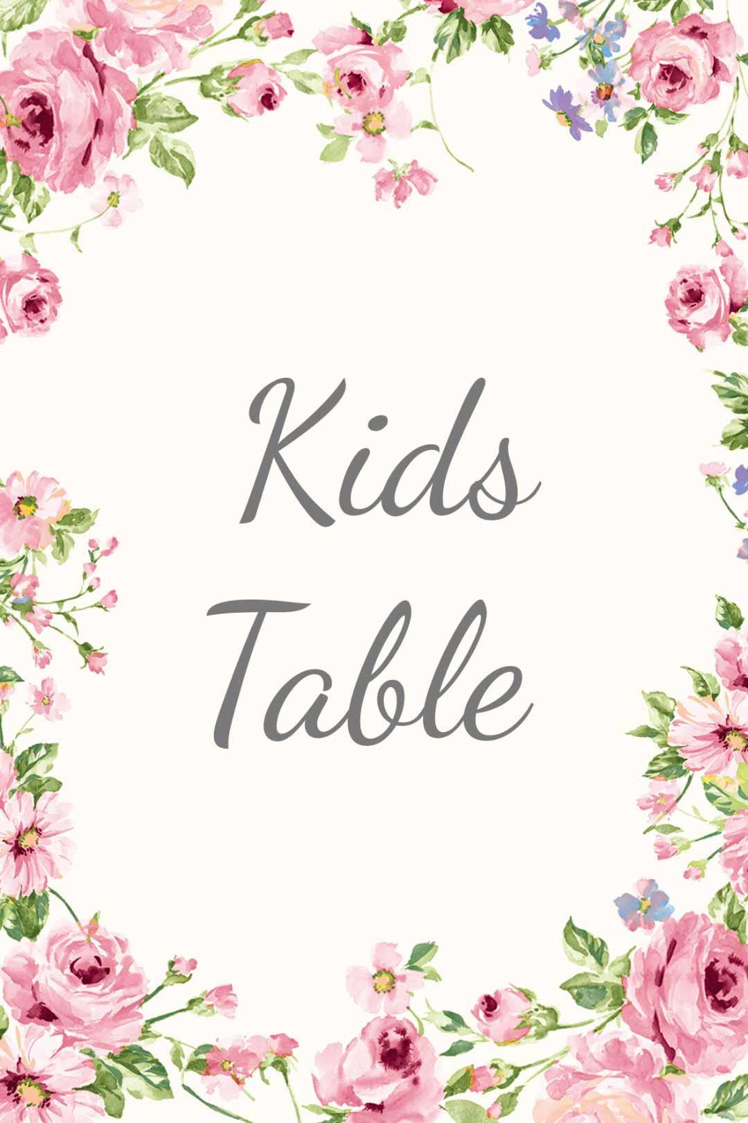Schild im blumigen Design als Vorlage für die Hochzeit: Kids Table