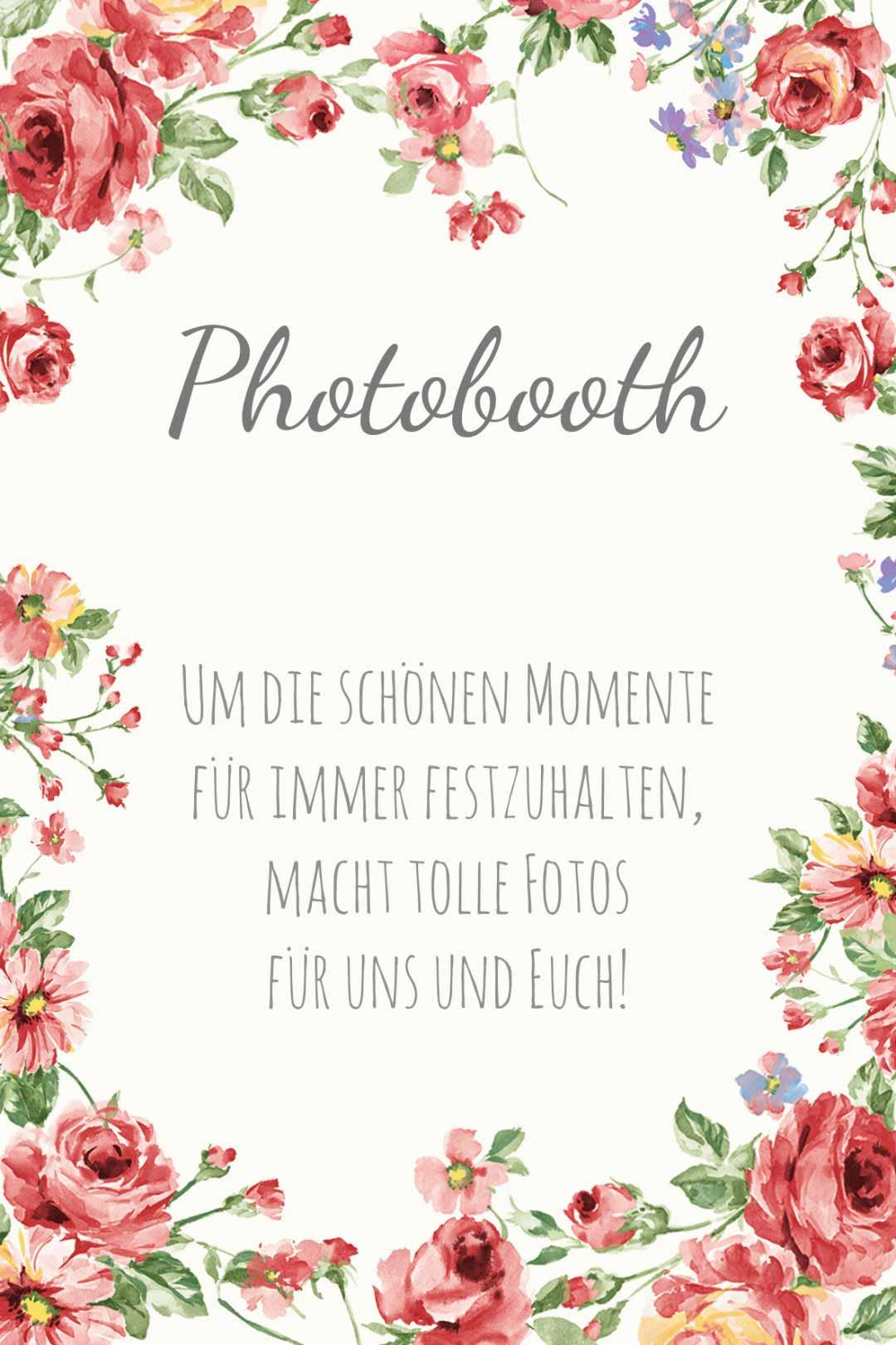 Schild im blumigen Design als Vorlage für die Hochzeit: Photobooth