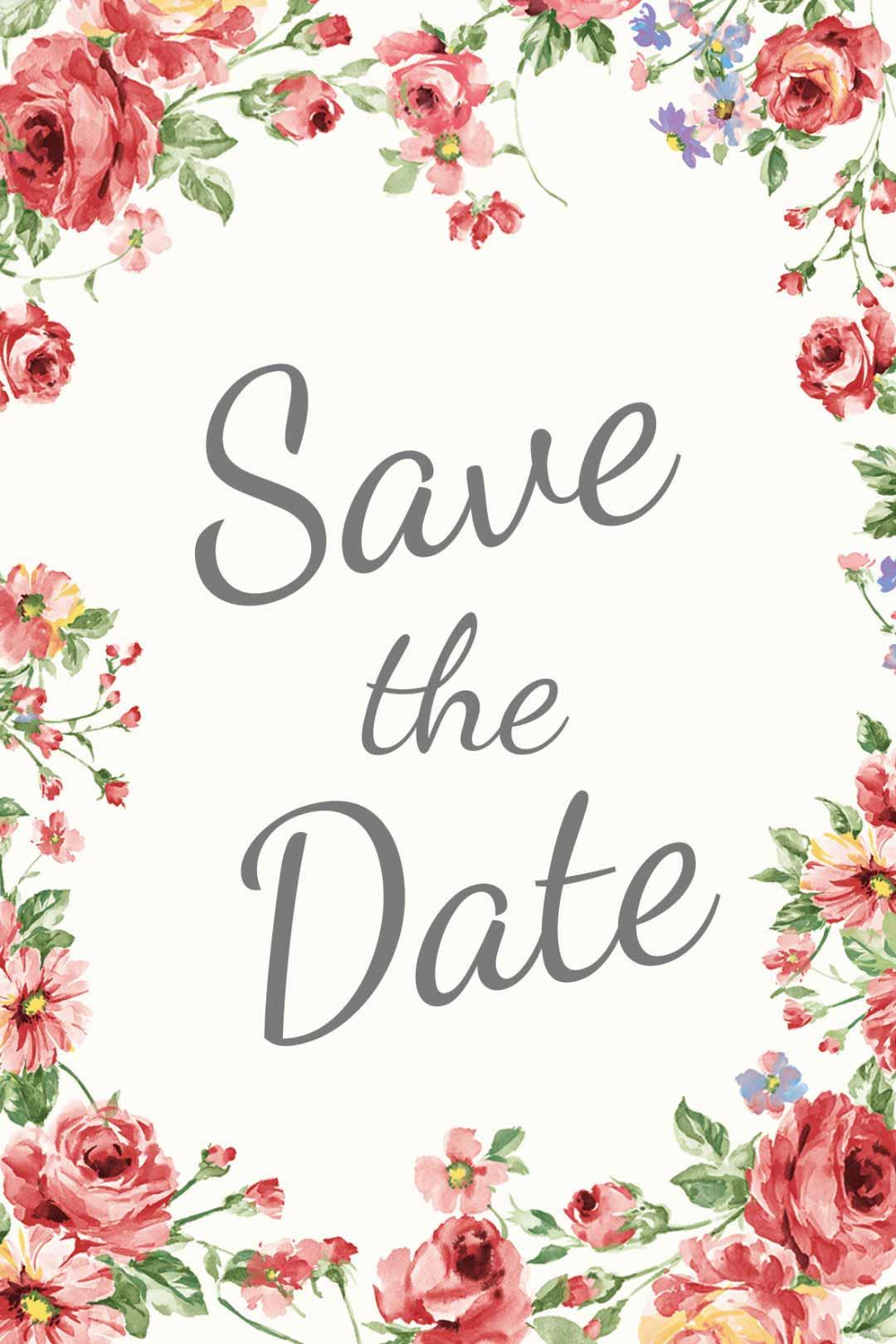 Schild im blumigen Design als Vorlage für die Hochzeit: Save the Date