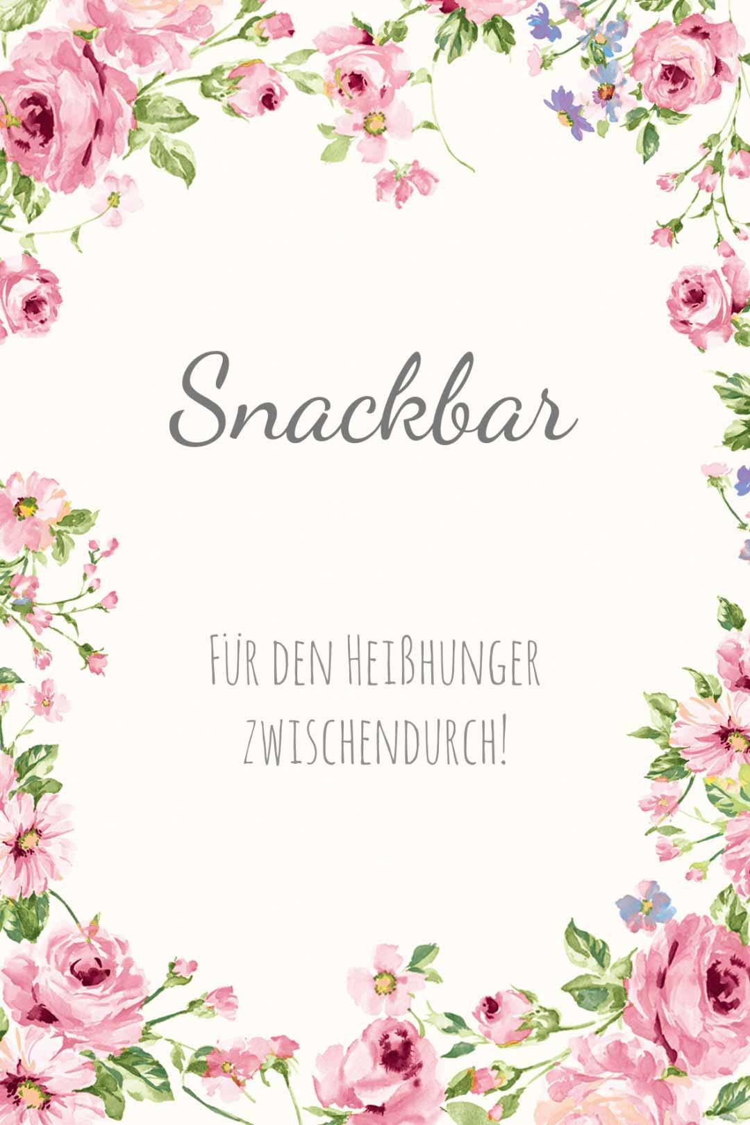 Schild im blumigen Design als Vorlage für die Hochzeit: Snackbar