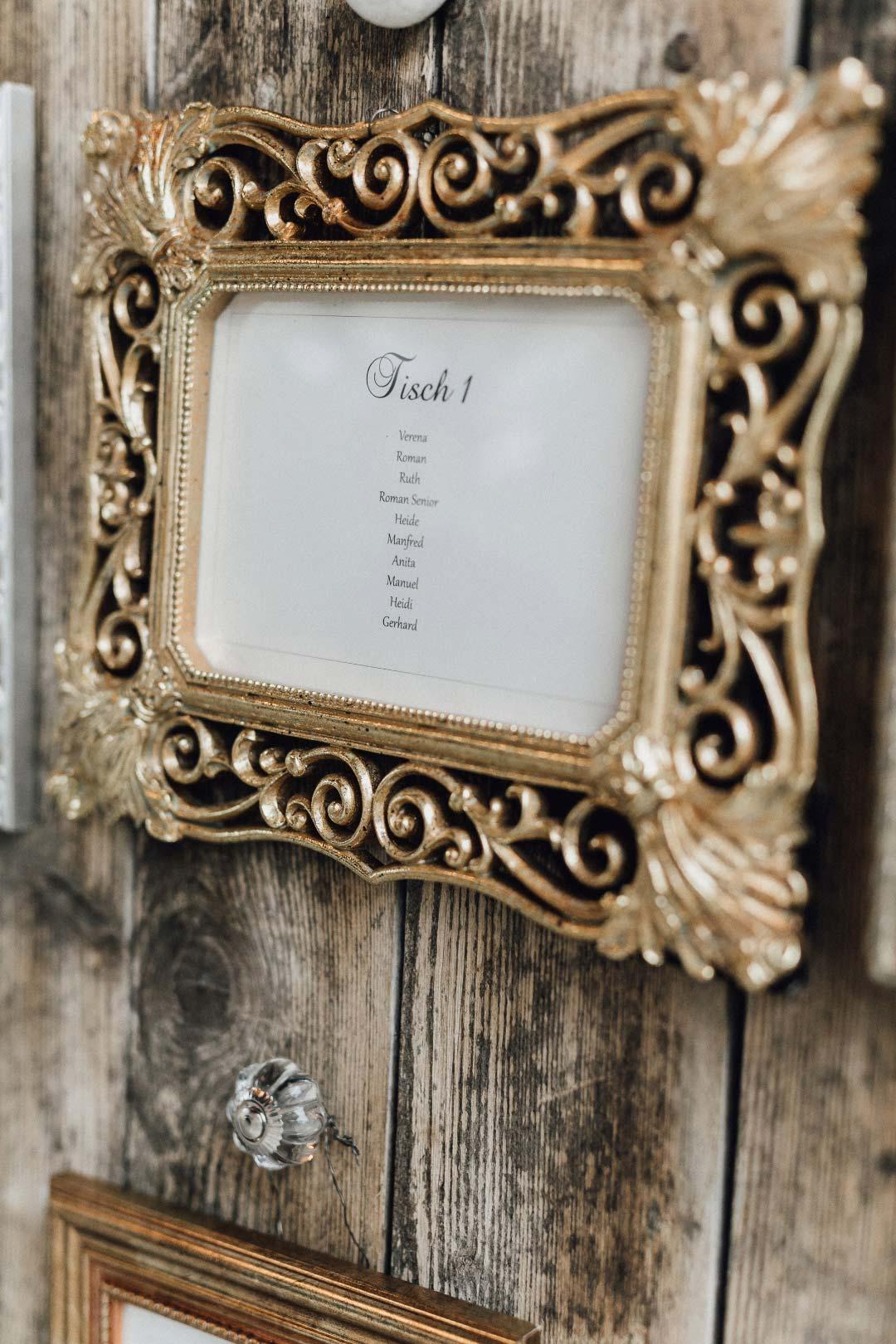 Nahaufnahme vom Sitzplan bei der Hochzeit mit einer Holzplatte auf welcher Bilderrahmen mit den Tischen montiert sind