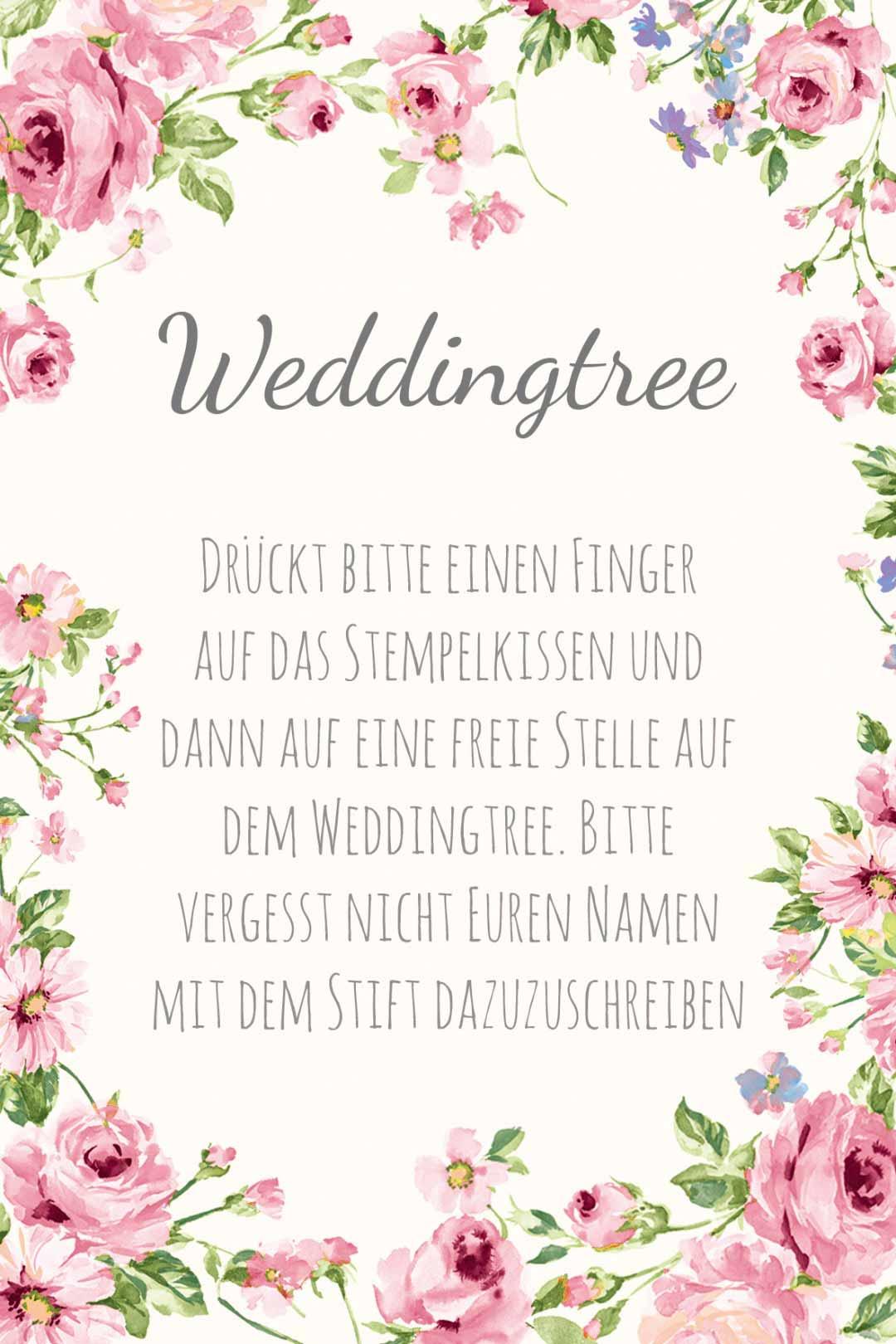 Schild im blumigen Design als Vorlage für die Hochzeit: Weddingtree