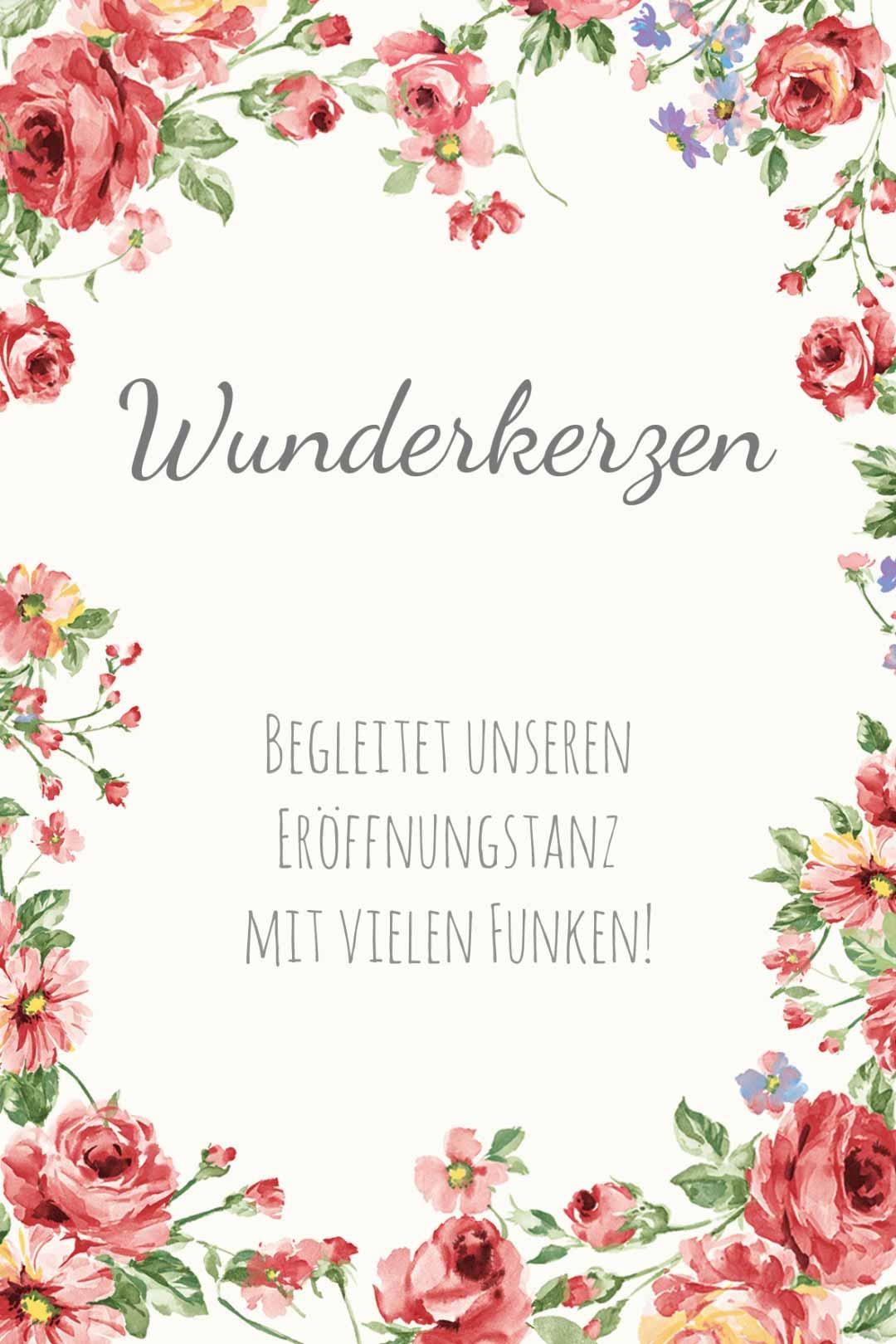 Schild im blumigen Design als Vorlage für die Hochzeit: Wunderkerzen